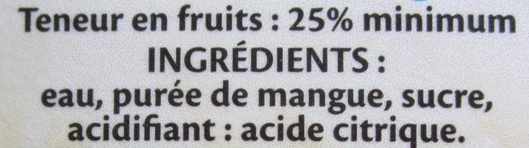 Nectar mangue - Ingredients