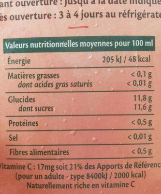 Mont pelé - Informations nutritionnelles - fr