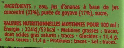 Nectar Ananas Goyave - Ingredients