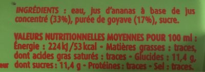Nectar Ananas Goyave - Nutrition facts
