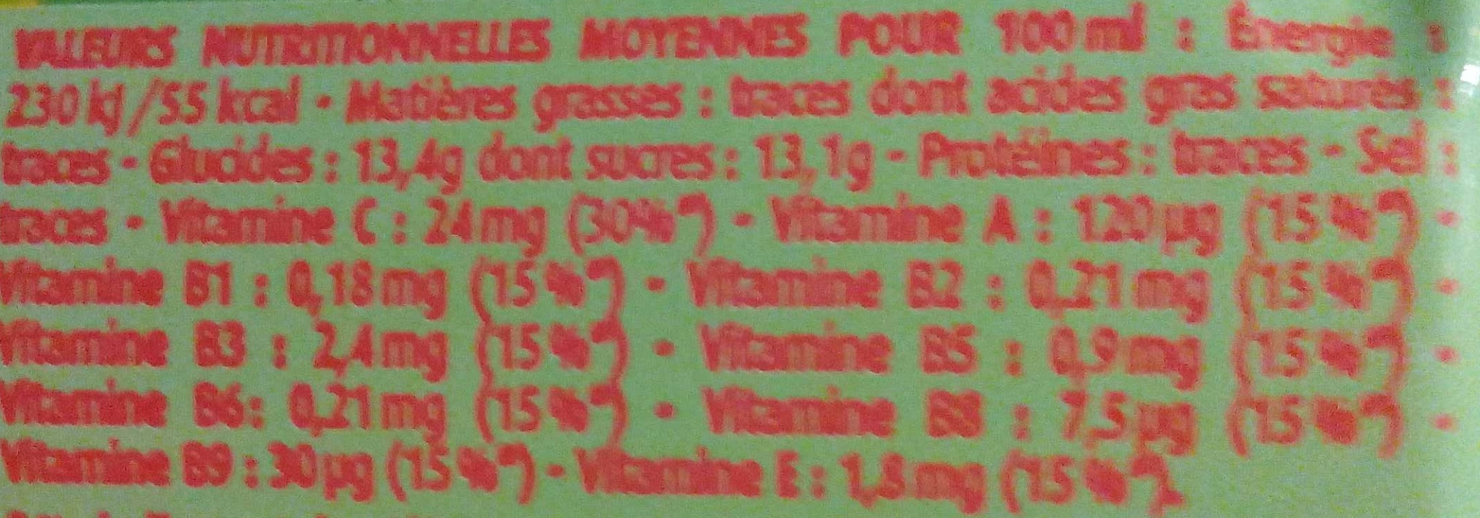 Cocktail Tropical - Nutrition facts