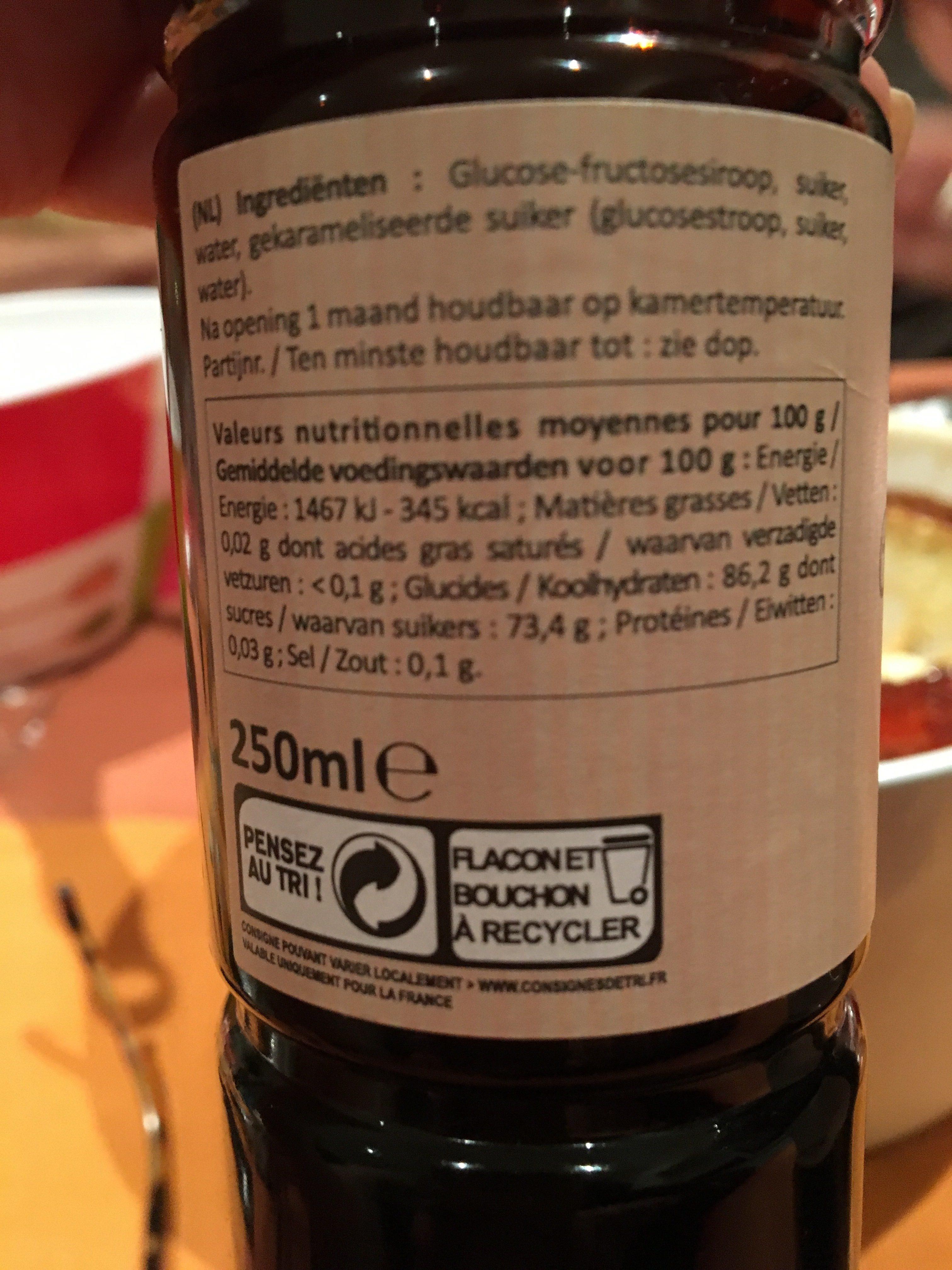 La patelière Caramel liquide La bouteille de - Ingrédients - fr