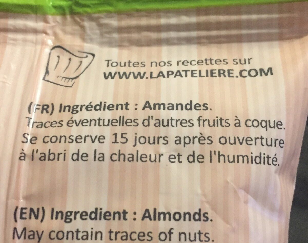 Amandes bio en poudre complete LA PATELIERE - Ingredients - fr