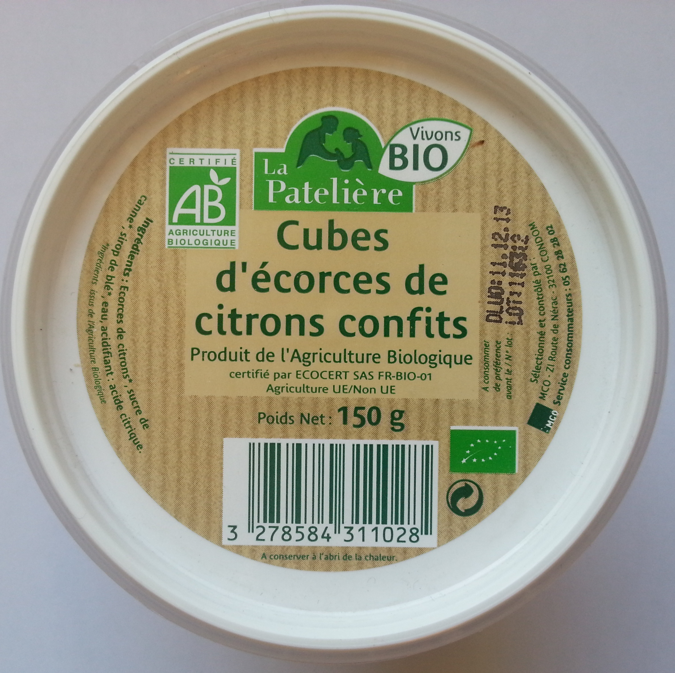 Cube d'écorces de citrons confits - Produit