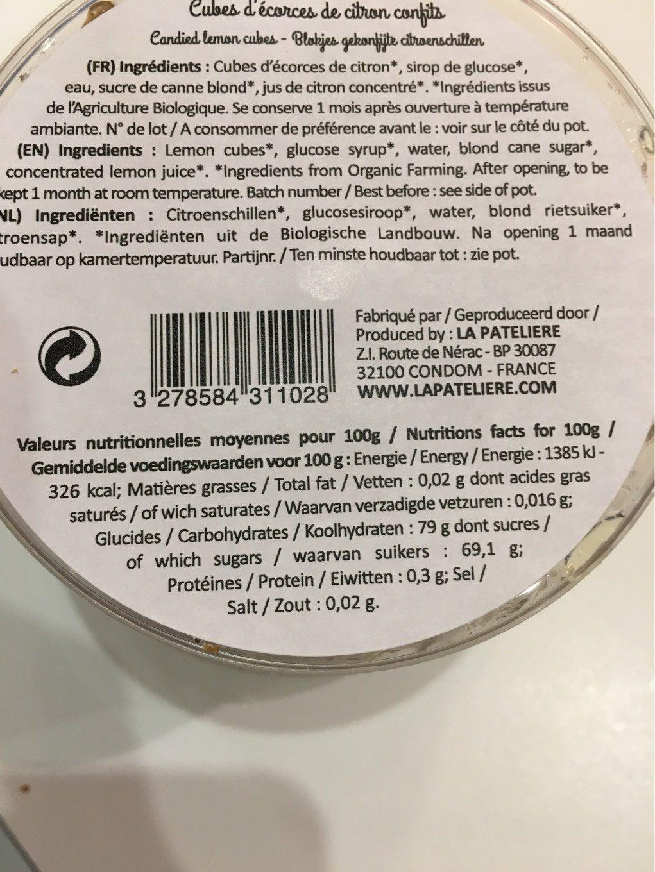 Cube d'écorces de citrons confits - Informations nutritionnelles
