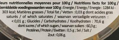 Cubes d'Écorces d'Oranges Confits - Voedingswaarden