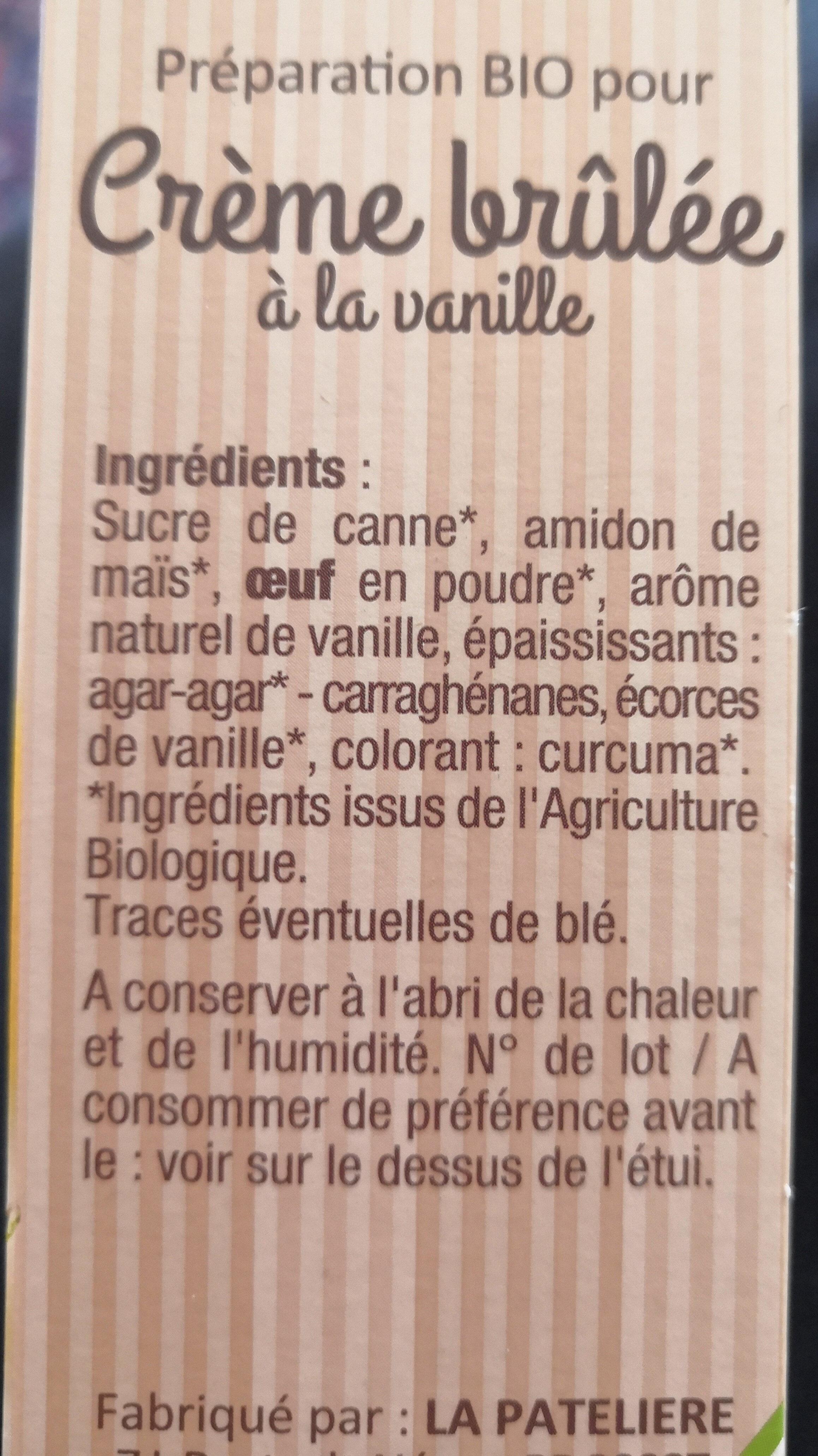 Crème brûlée a la vanille - Ingrédients - fr