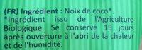 Noix de coco bio râpée - Ingrédients - fr