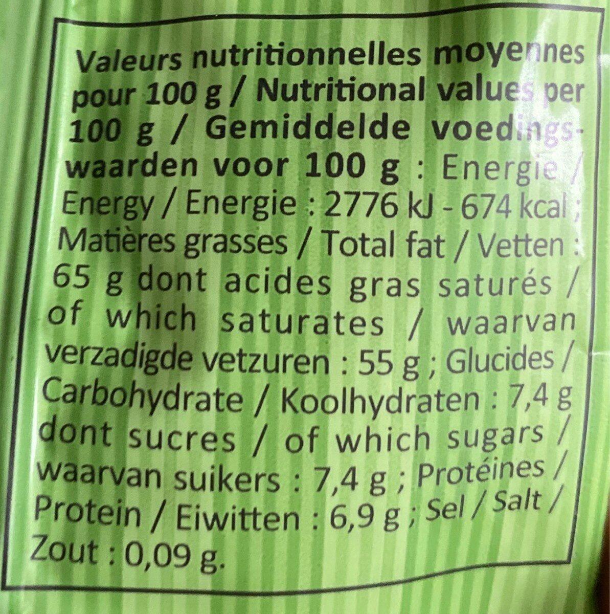 Noix de coco bio râpée - Informations nutritionnelles - fr