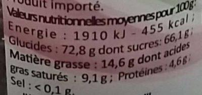 Vermicelles chocolat - Nutrition facts - fr