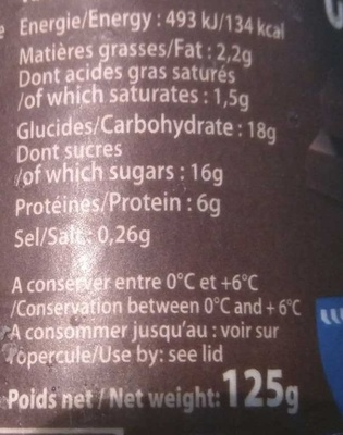 Empresuré chocolat Intense - Nutrition facts