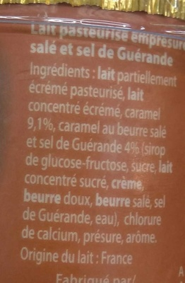 Emprésuré Caramel Beurre Sel de Guérande - Ingrediënten