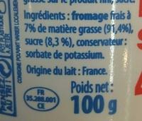 Fromage Frais Sucré 40% MG - Ingrédients - fr