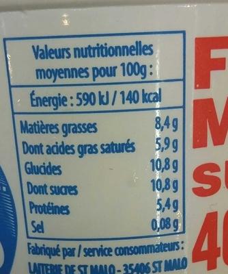 Fromage Frais Sucré 40% MG - Informations nutritionnelles - fr