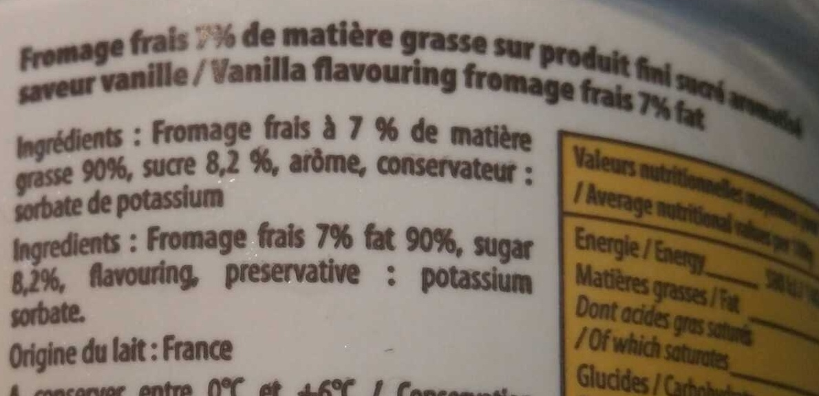 Saveur Vanille Fromage Frais - Ingrédients