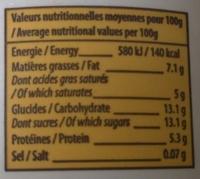 Saveur Vanille Fromage Frais - Informations nutritionnelles