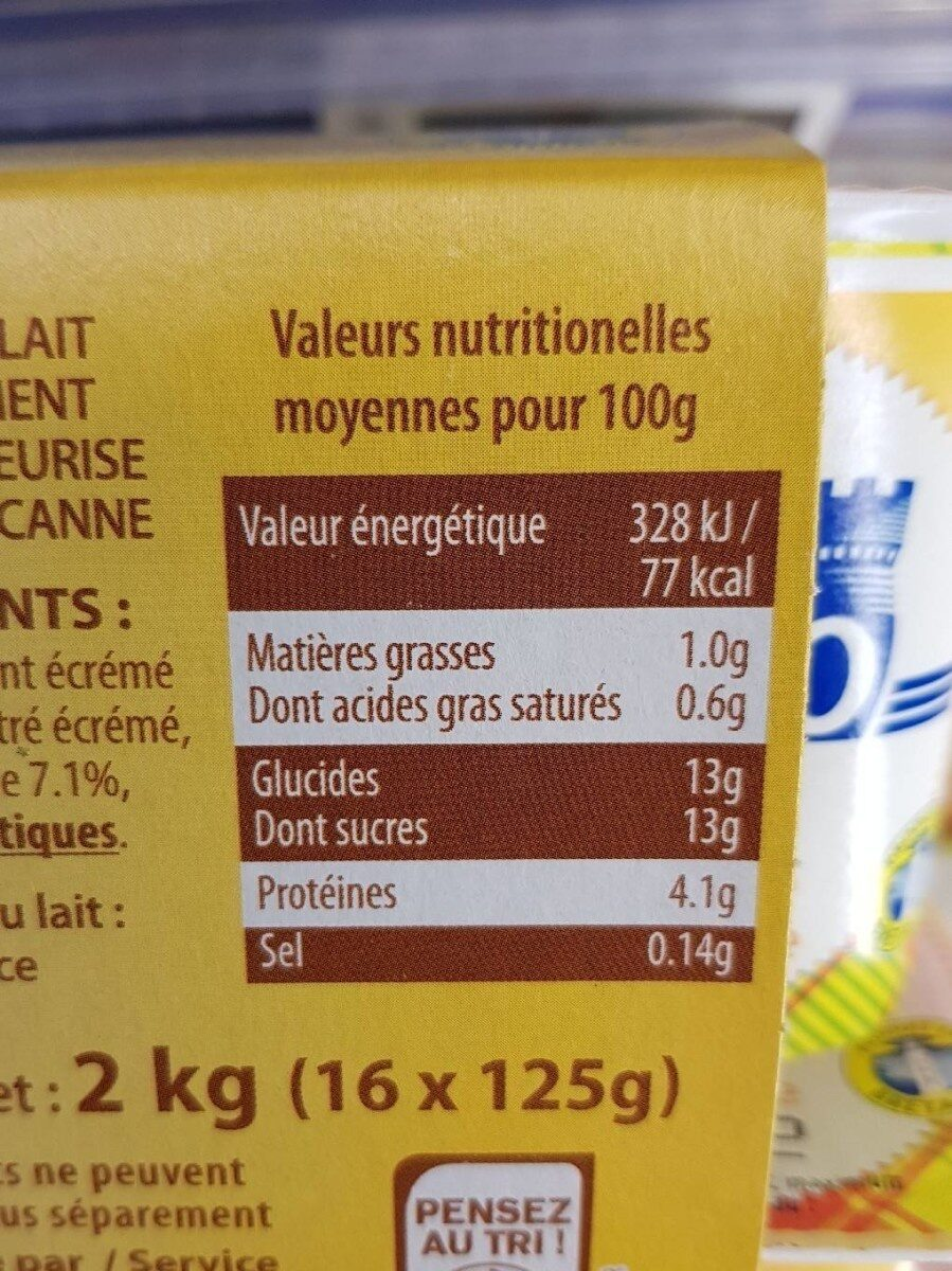 Yaourt au sucre de canne - Malo - 2 kg (16 * 125 g)