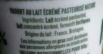 Yaourt Nature 0% - Ingredients - fr