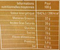 Mousse au Caramel au Beurre Salé - Informations nutritionnelles - fr