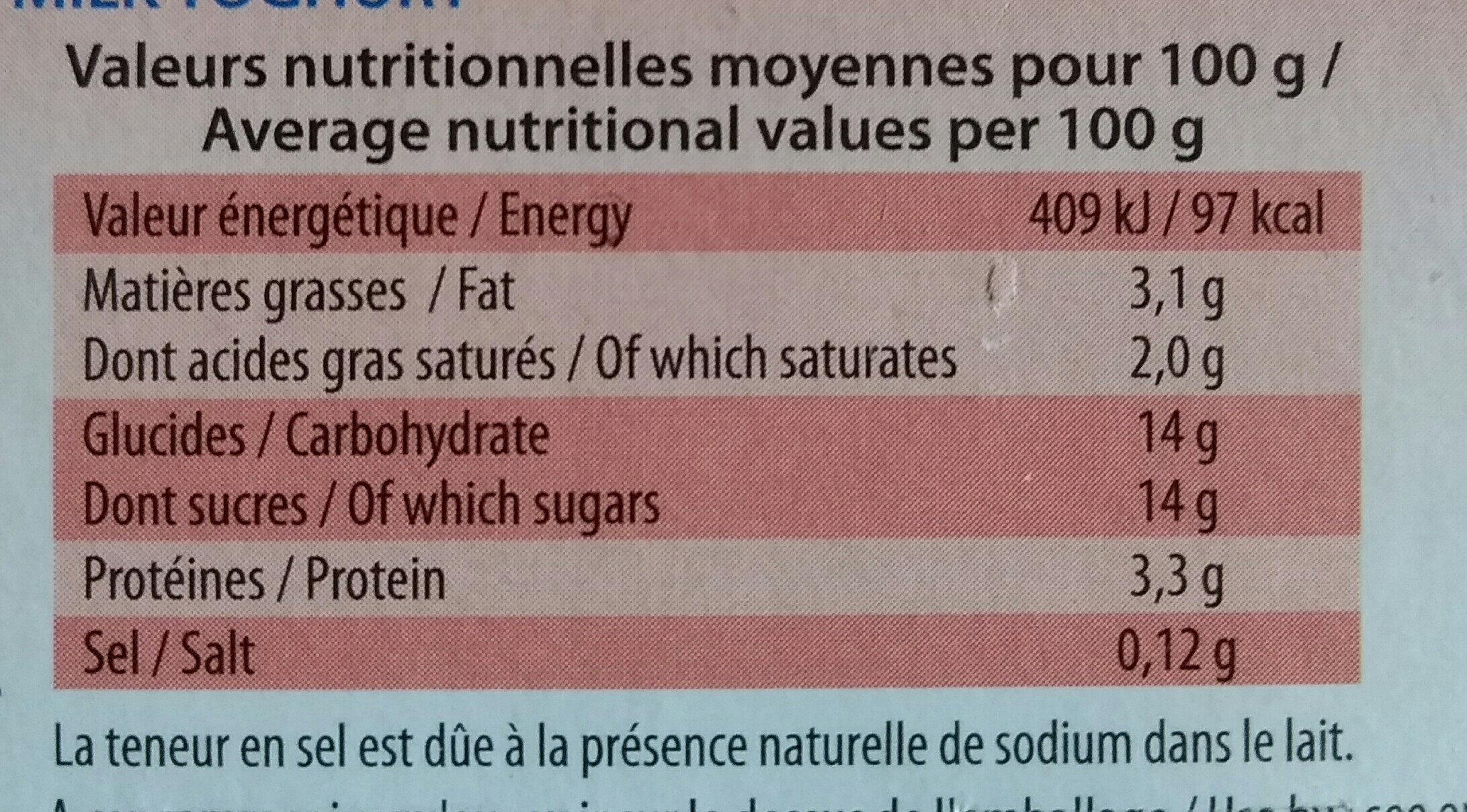 Yaourt au lait entier saveur framboise - Informations nutritionnelles