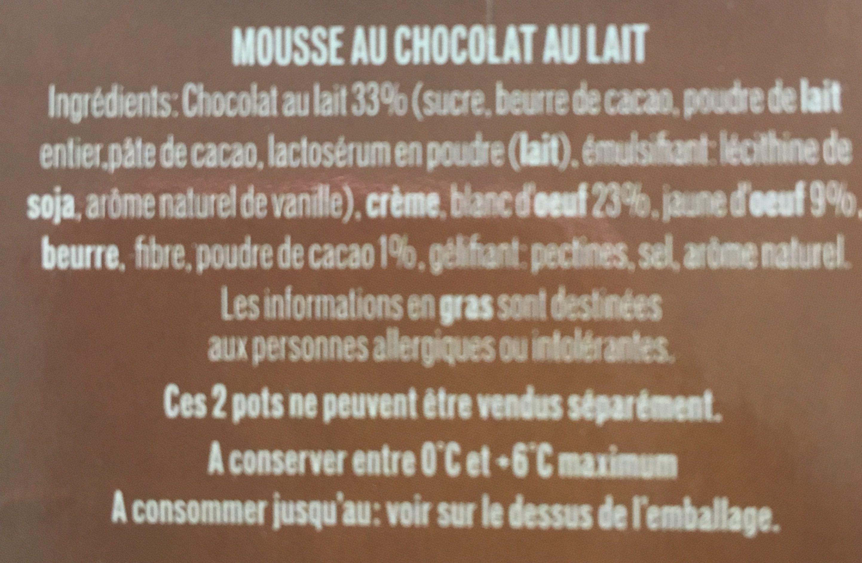 MOUSSE CHOCOLAT AU LAIT - Ingrediënten