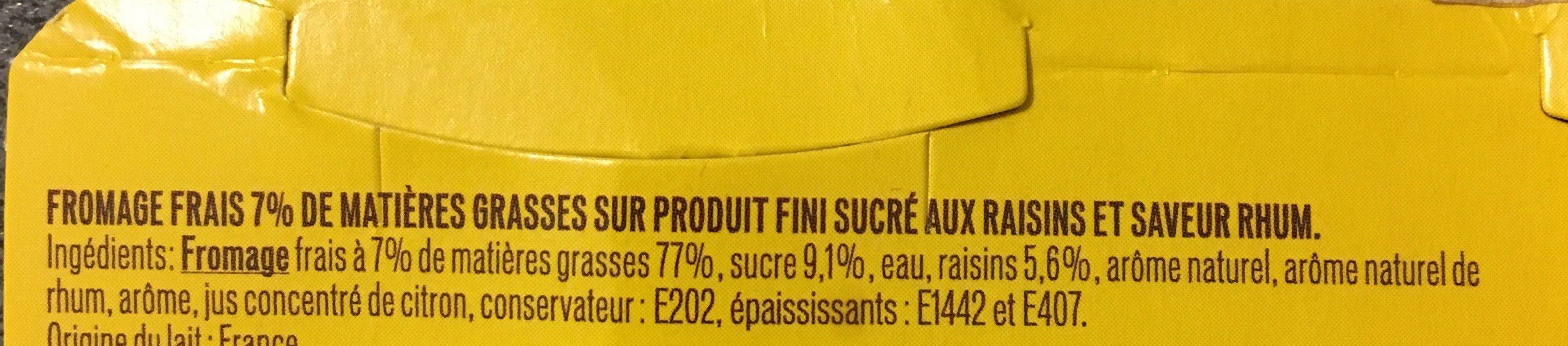 Fromage Frais saveur Rhum Raisins - Ingrédients - fr