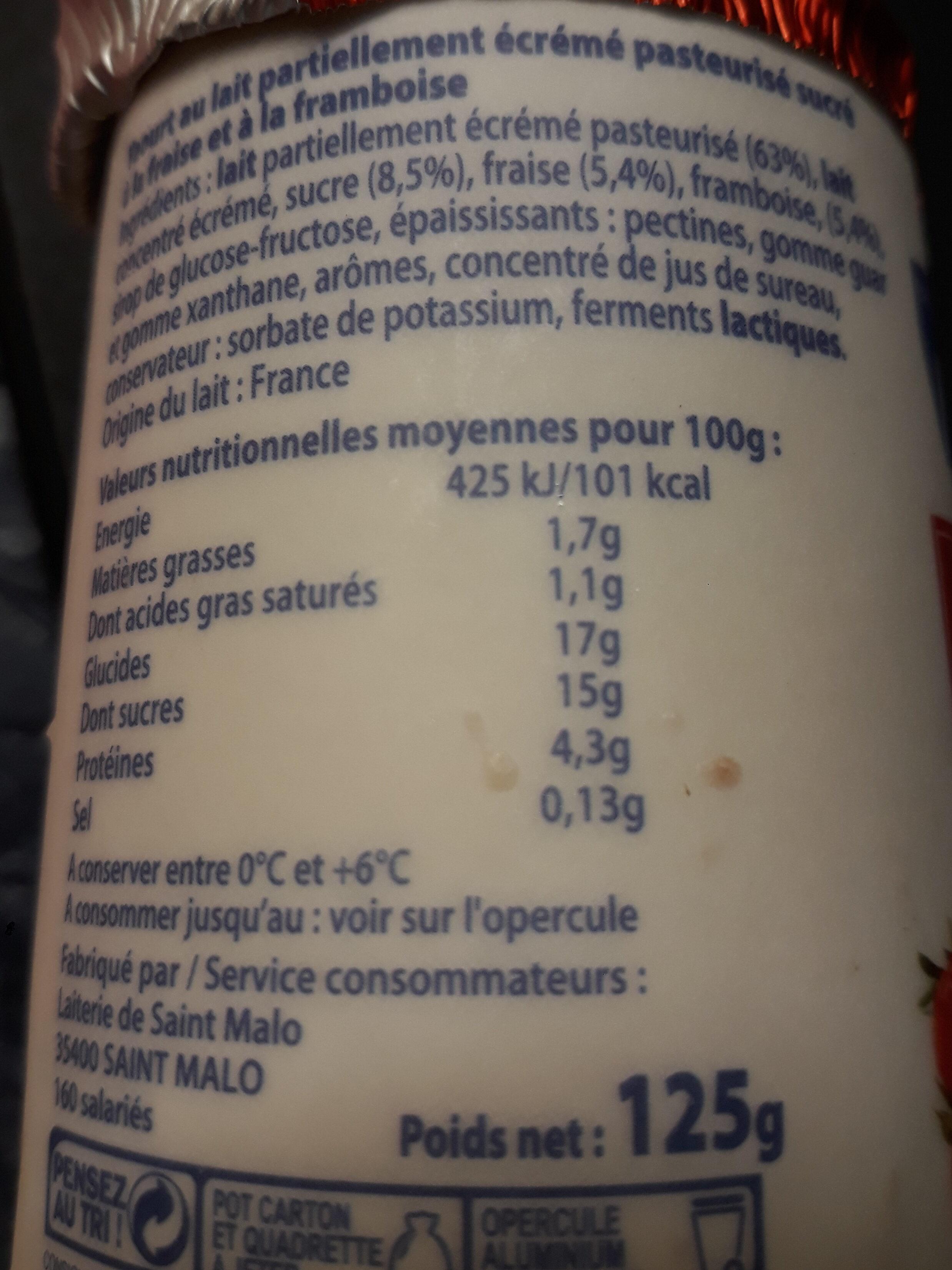 Yaourts Aux Fruits Malo, Fraise / Framboise - Valori nutrizionali - fr