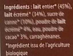 Flan chocolat bio - Ingrediënten