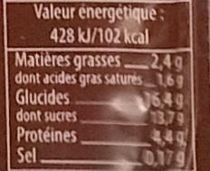 Flan chocolat bio - Voedigswaarden