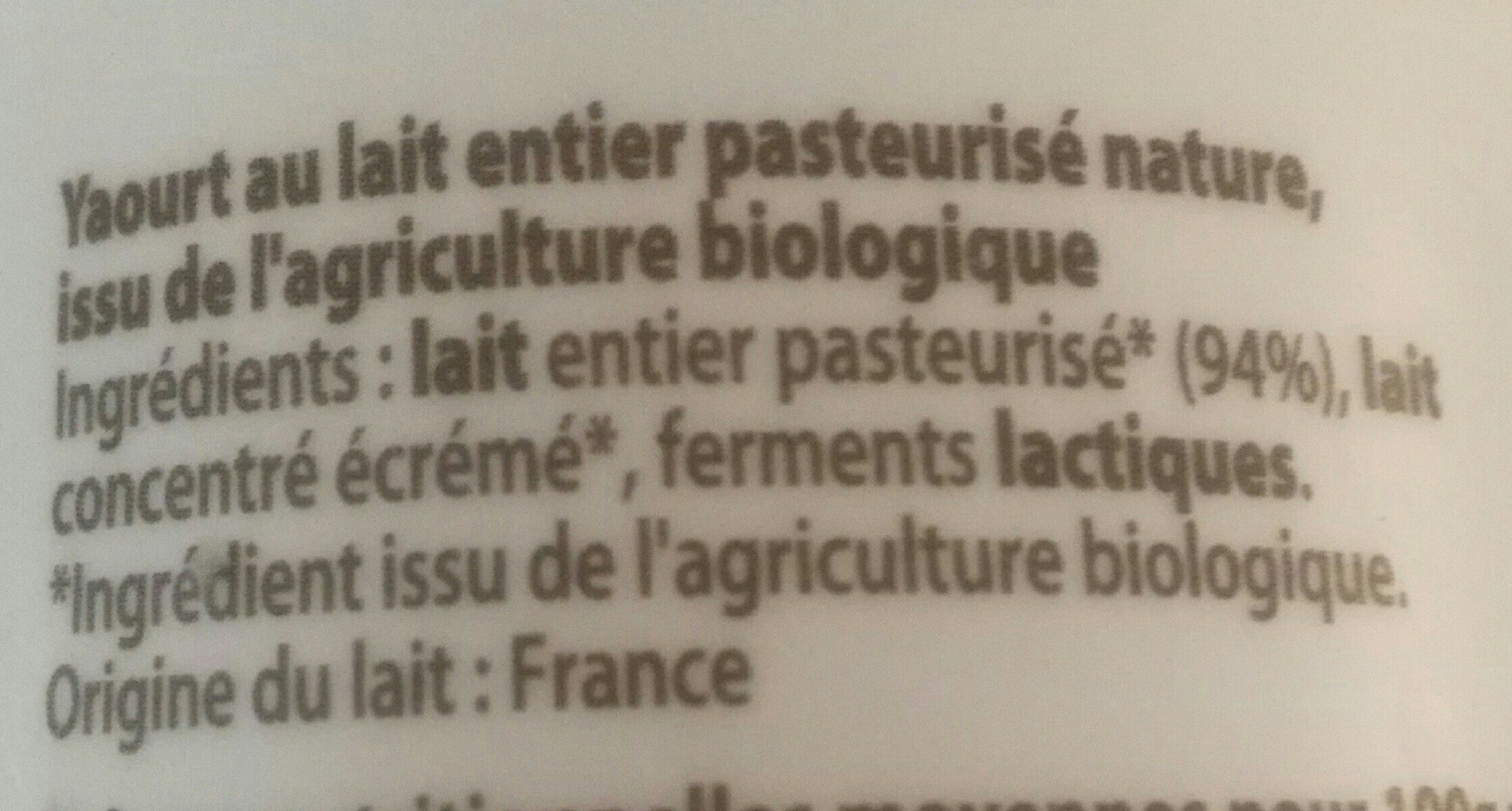 Yaourt nature bio - Ingrédients - fr