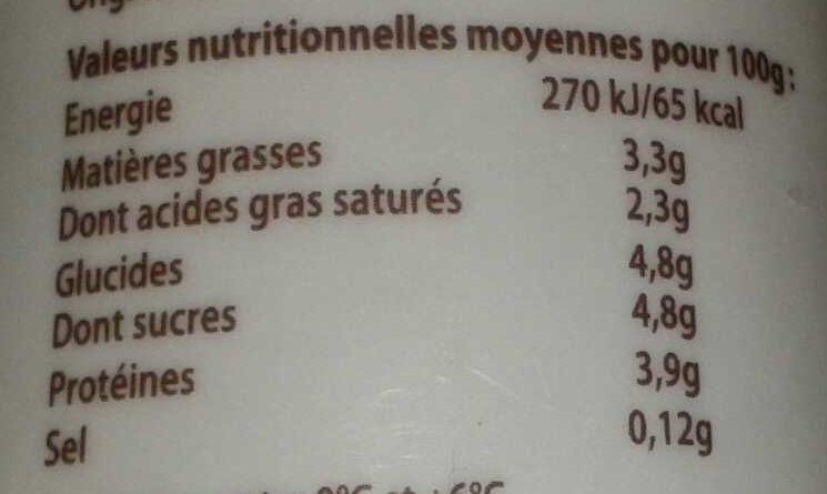 Yaourt nature bio - Informations nutritionnelles - fr