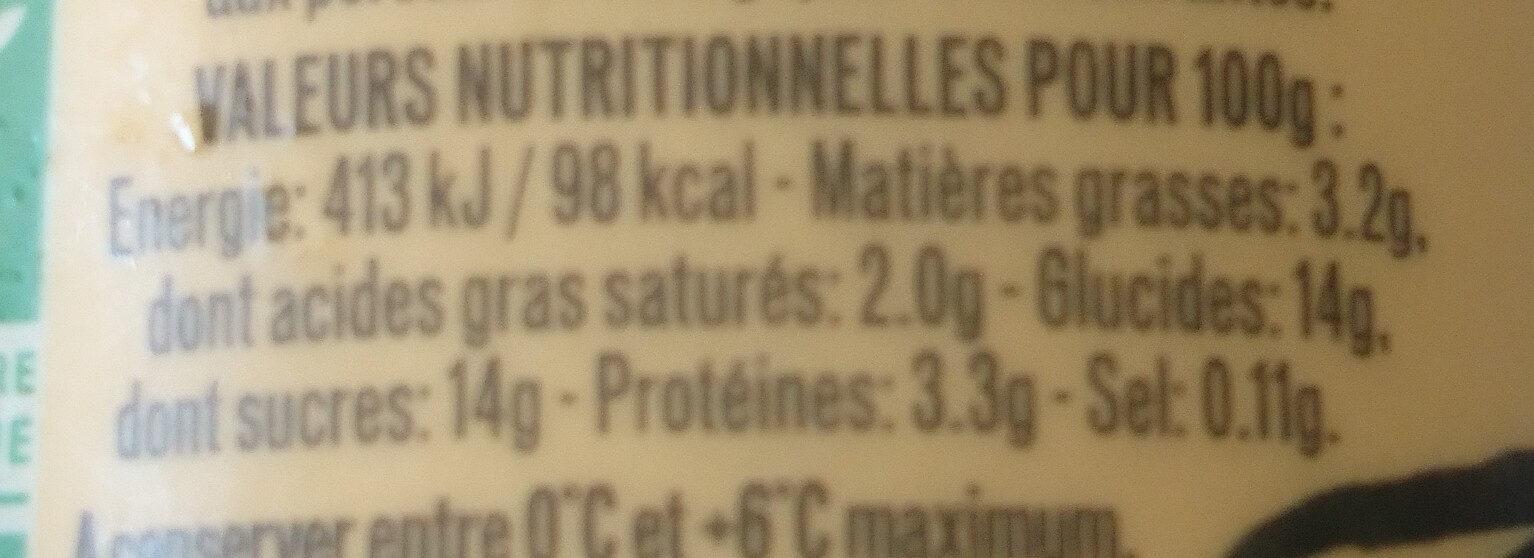 Yaourt à la vanille bio - Nutrition facts - fr