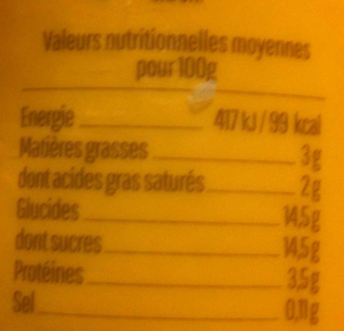 Yaourt saveur citron au lait entier - Informations nutritionnelles