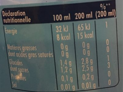 Orangina Zéro - Nutrition facts