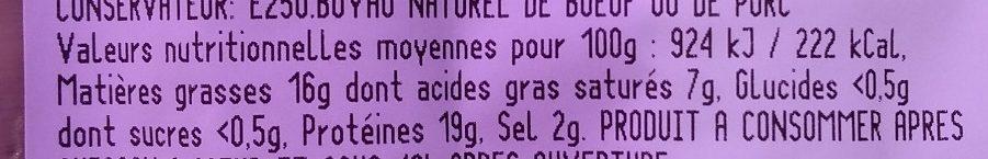 Andouillettes Grill Moutarde à l'Ancienne - Voedingswaarden