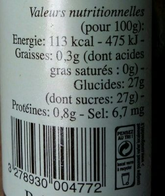 Coulis de fraises - Nutrition facts - fr