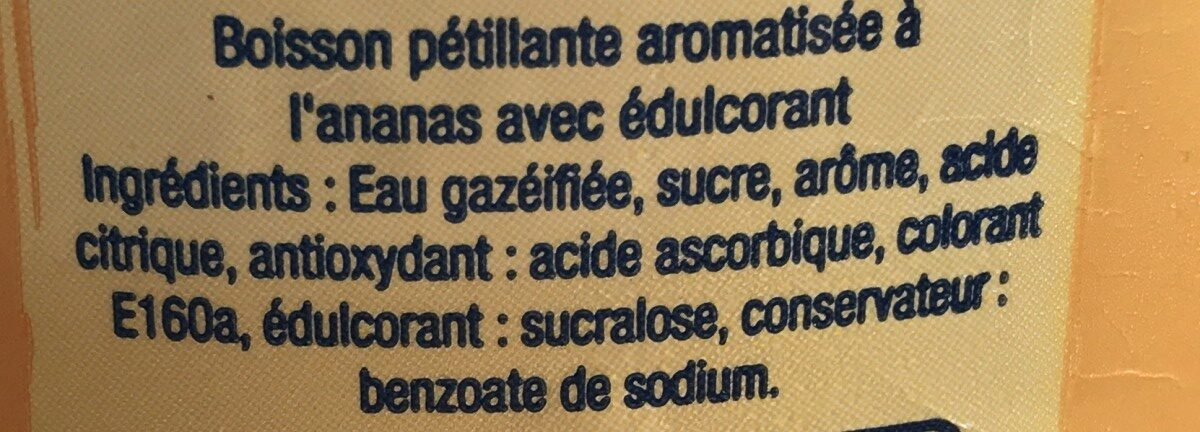 Limonade ananas 2 litres - Ingrédients