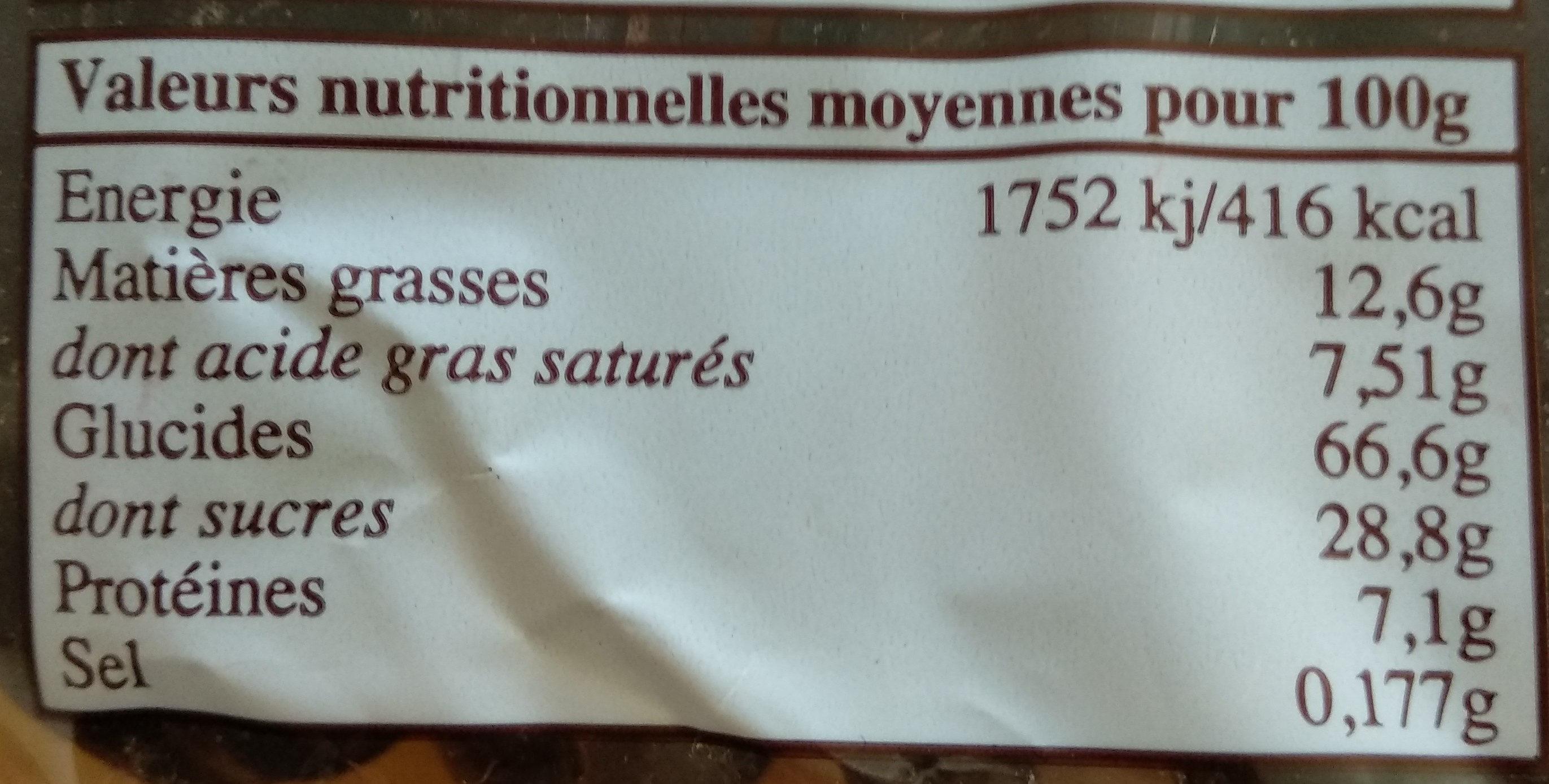 Pains d'Épices, Langues Chocolatées - Nutrition facts