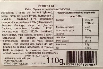 Pain d'épices - Ingrédients - fr