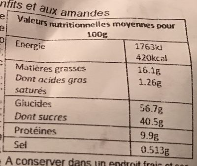 Petits florentins - Informations nutritionnelles - fr