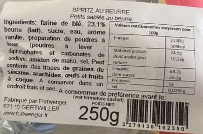 Spritz au beurre - Ingredients - fr
