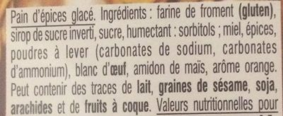 Pain d'épices glacé - Ingredients