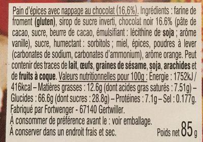 Pere noel chocolate au pain d'epices - Ingrédients - fr