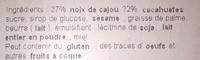 Palets aux noix de Cajou - Ingrédients - fr