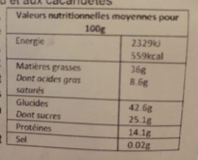 Palets aux noix de Cajou - Informations nutritionnelles - fr