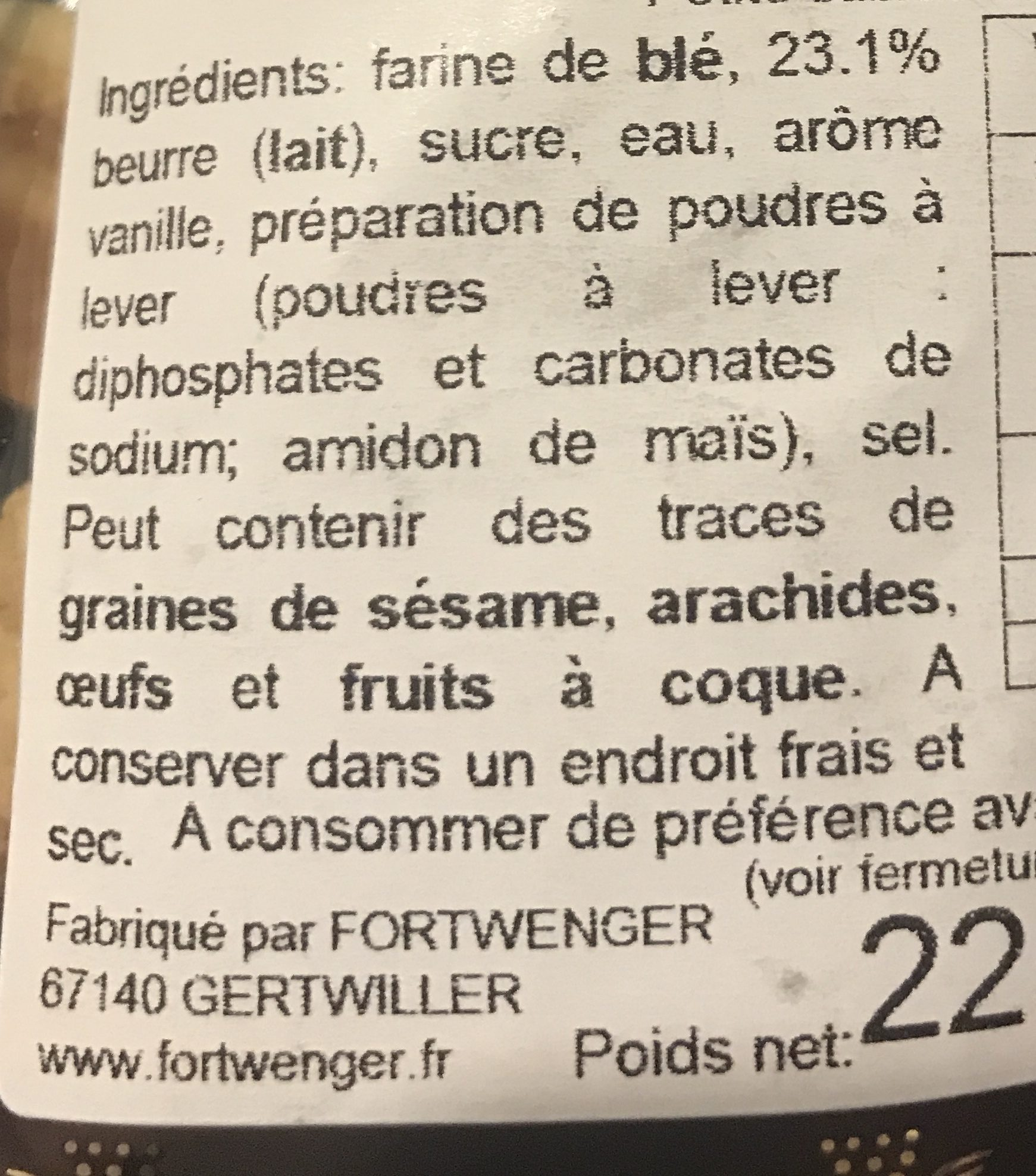 Spritz au beurre - Ingredients