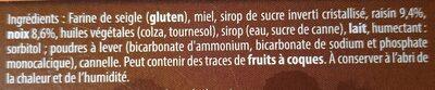 Les pains d'épices des gourmets - raisins et noix - Ingredients