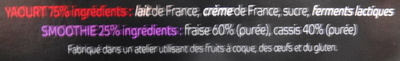 My smoothie Yogurt, fraise-cassis - Ingredients - fr