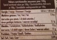 La fermière, vanille - Nutrition facts
