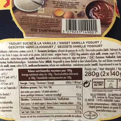 Yaourt VANILLE - Nutrition facts - fr